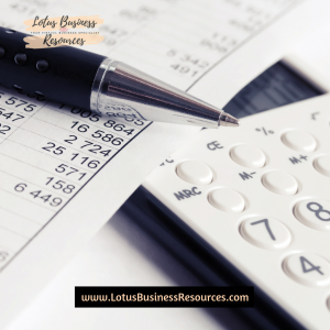 a picture of a black pen on top of a white tax form with numbers laying next to a white and black calculator with the lotus business resources dot com website address below and the logo above