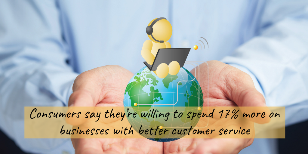 customers say they're willing to spend 17% more with businesses that have better customer service. A pair of hands holding a world globe with a figure sitting on top holding a laptop