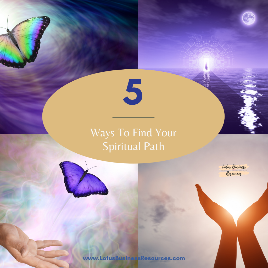 5 ways to find your spiritual path. graphic with hands raised to the heavens and butterflies alighting