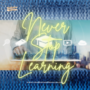 a graphic of hands on a desk with icons of different learning platforms overlaid and a city skyline in the back with Never Stop Learning superimposed over the graphic