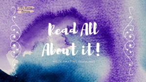purple tie-dyed background with the words read All About it - write amazing headlines in white letters